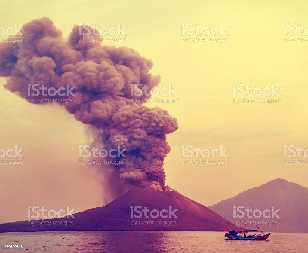 eruption of Anak Krakatau- stock photo