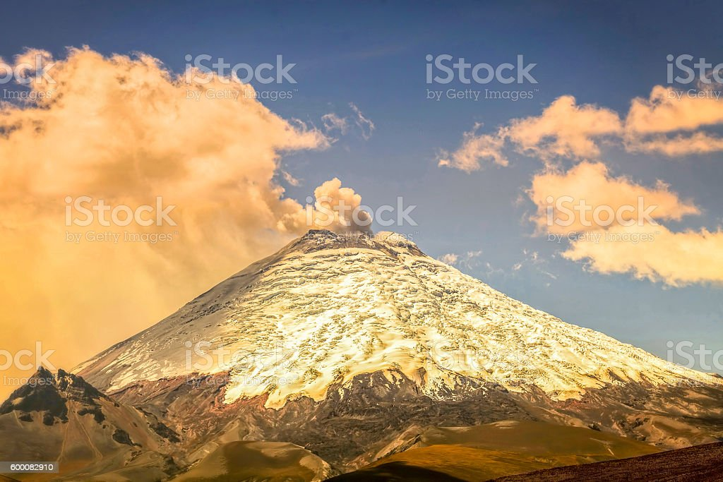 Eruption Of Ash Clouds From Cotopaxi Volcano stock photo