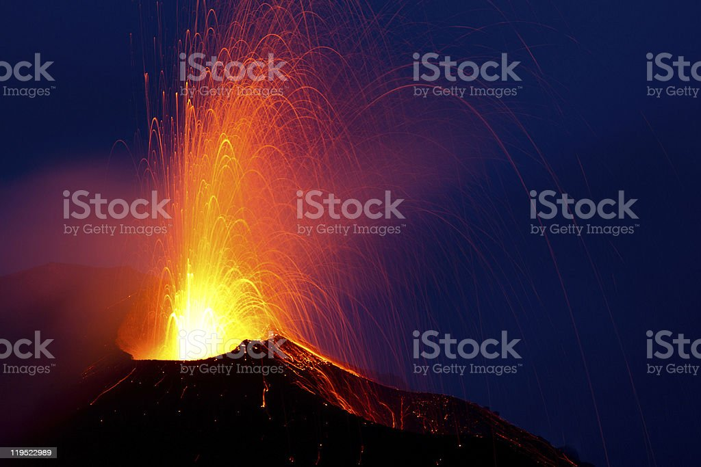 eruption of the volcano stromboli stock photo