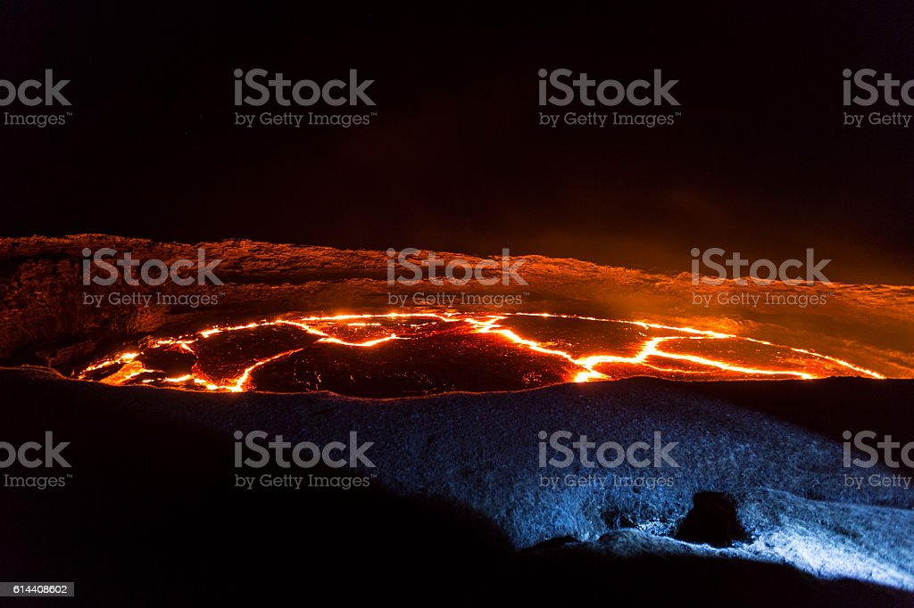 Eruption of Volcano Erta Ale, Ethiopia stock photo