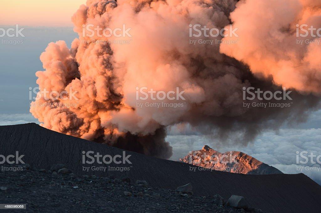 Eruption of volcano - Semeru stock photo
