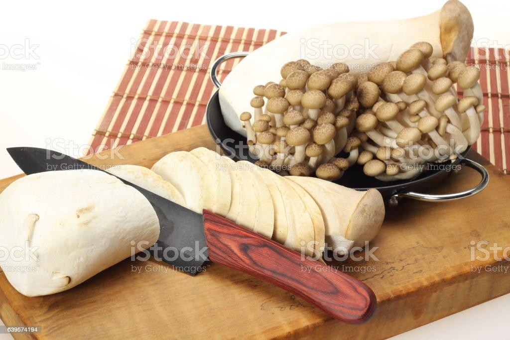 Eryngii and Brown beech mushroom stock photo