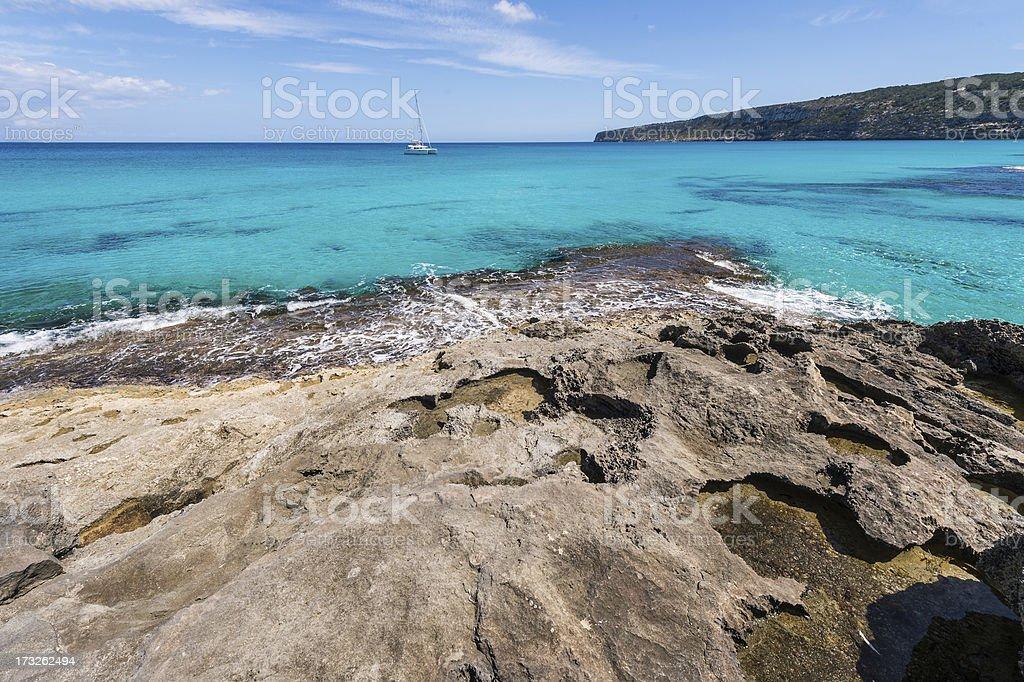 Es Calo coastline in Formentera island royalty-free stock photo