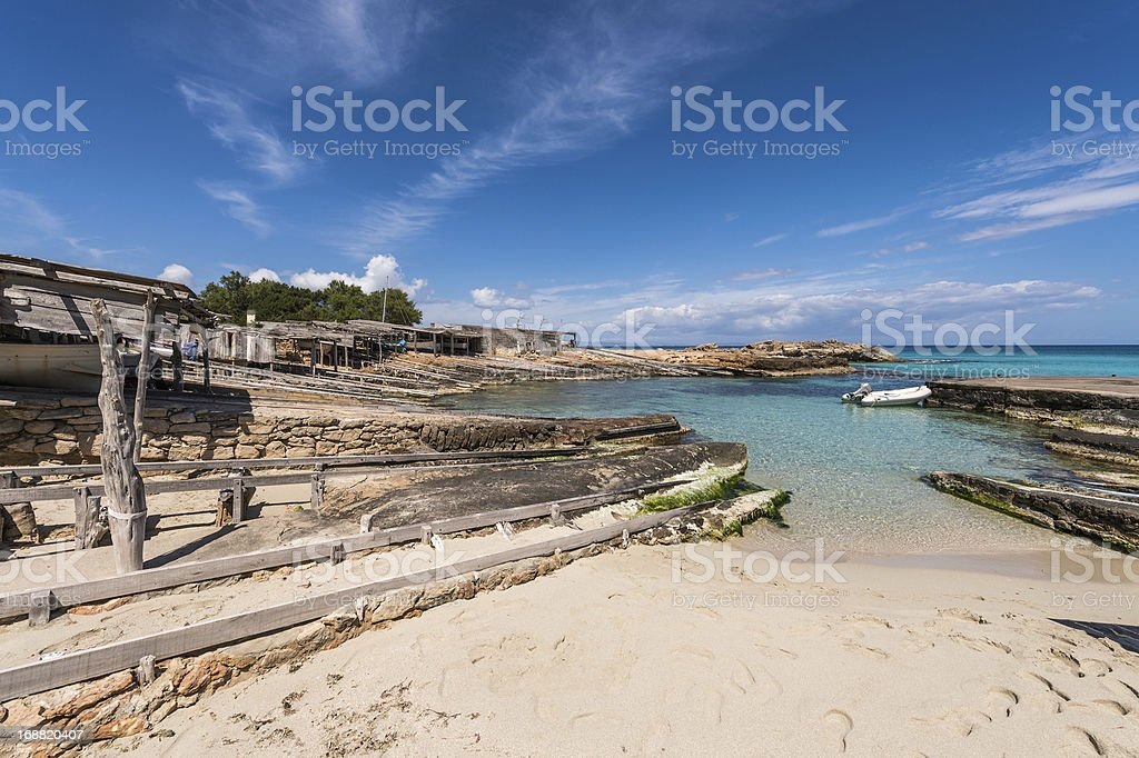 Es Calo port in Formentera island boats railways royalty-free stock photo