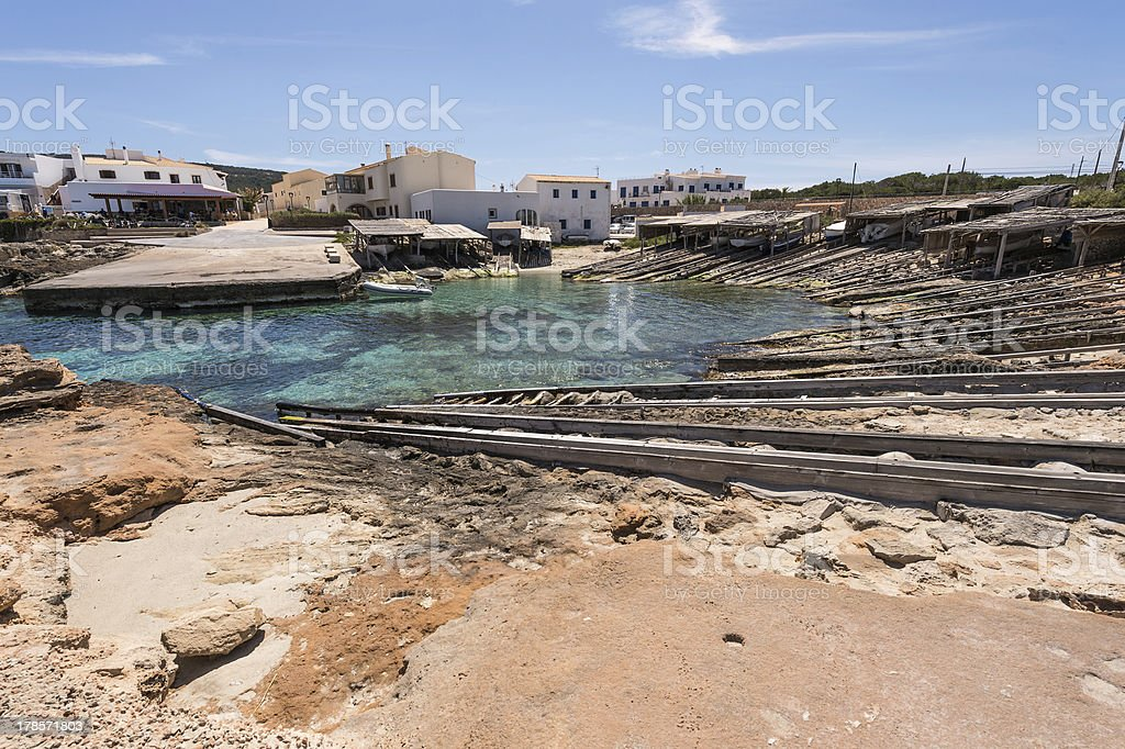 Es Calo port in Formentera island boats railways royalty-free stock photo