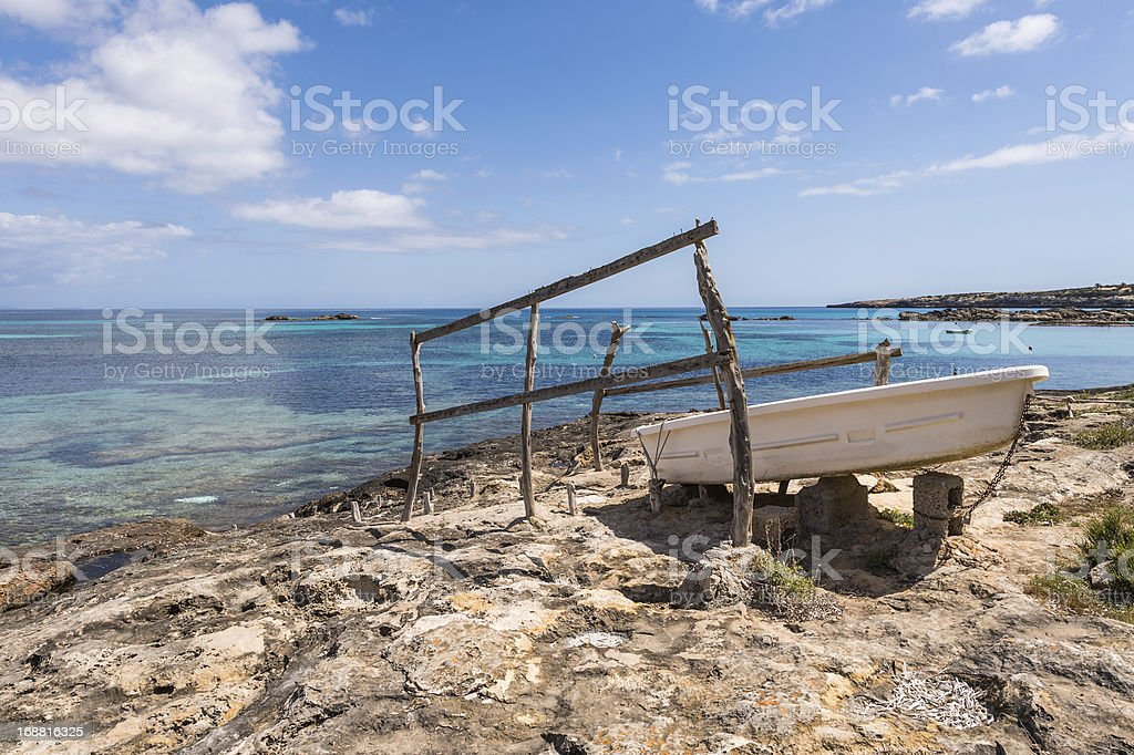 Es Pujols port in Formentera island antique house and door royalty-free stock photo