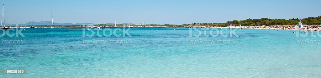 Es trenc beach with white sand and turquoise sea stock photo