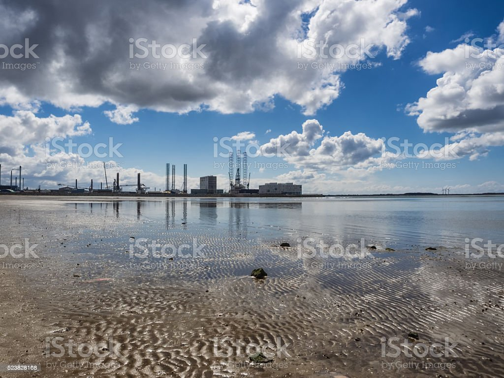 Esbjerg harbor Denmark, Metropol of energy stock photo