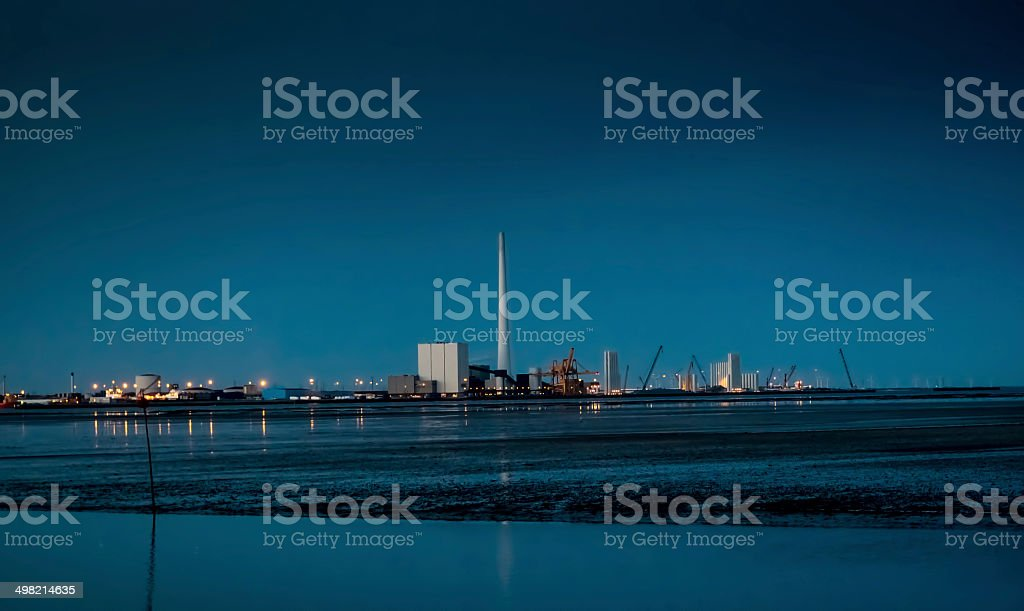 Esbjerg harbor skyline at night time, Denmark stock photo