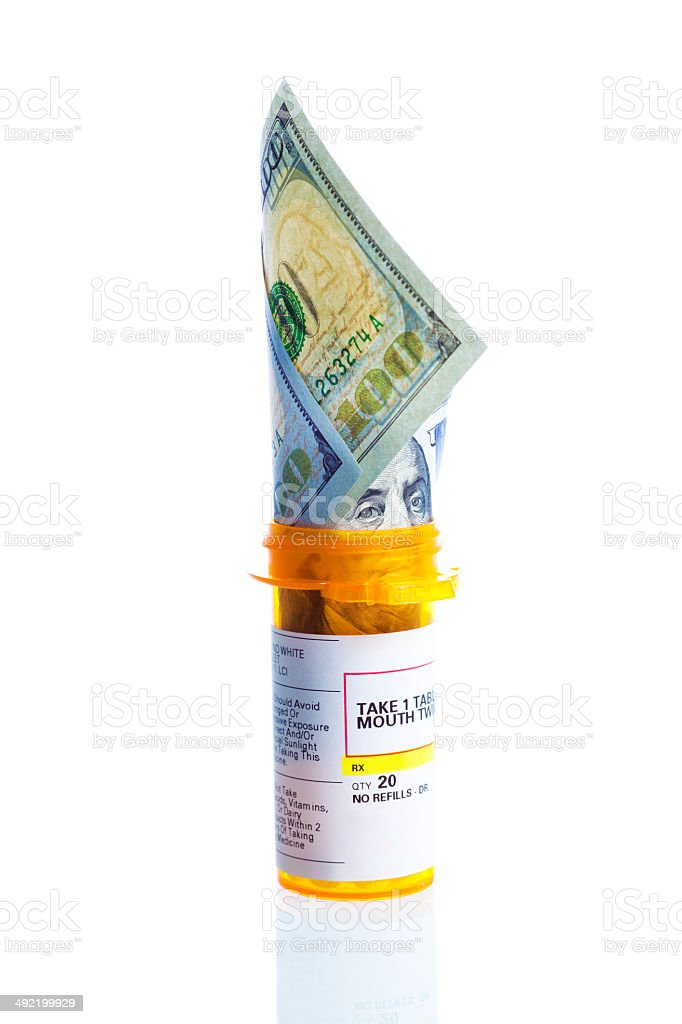 Escalating Cost of Prescription Drug in USA on White Background stock photo