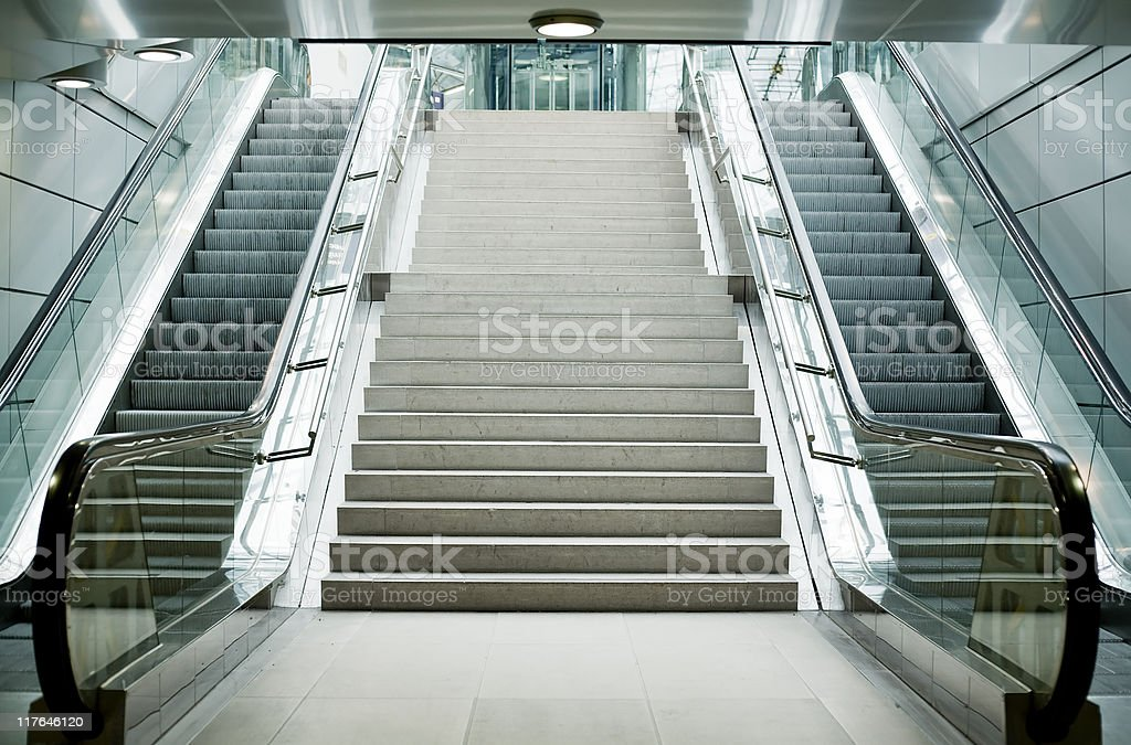 Escalator and Stairs royalty-free stock photo