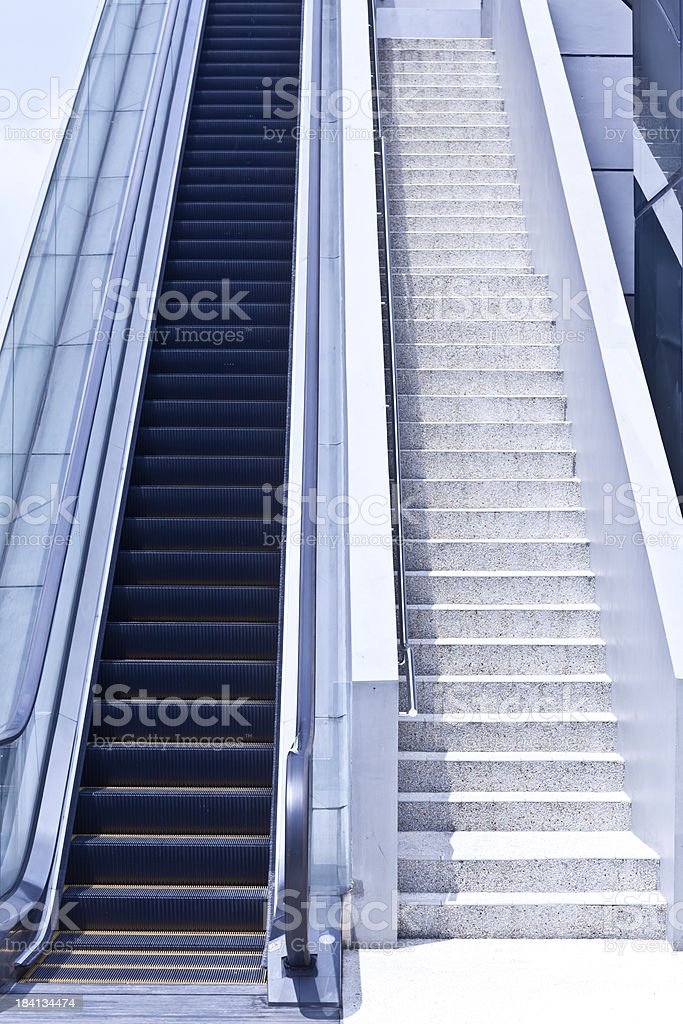 Escalator and stairs stock photo