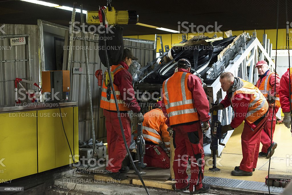 Escalator construction works royalty-free stock photo