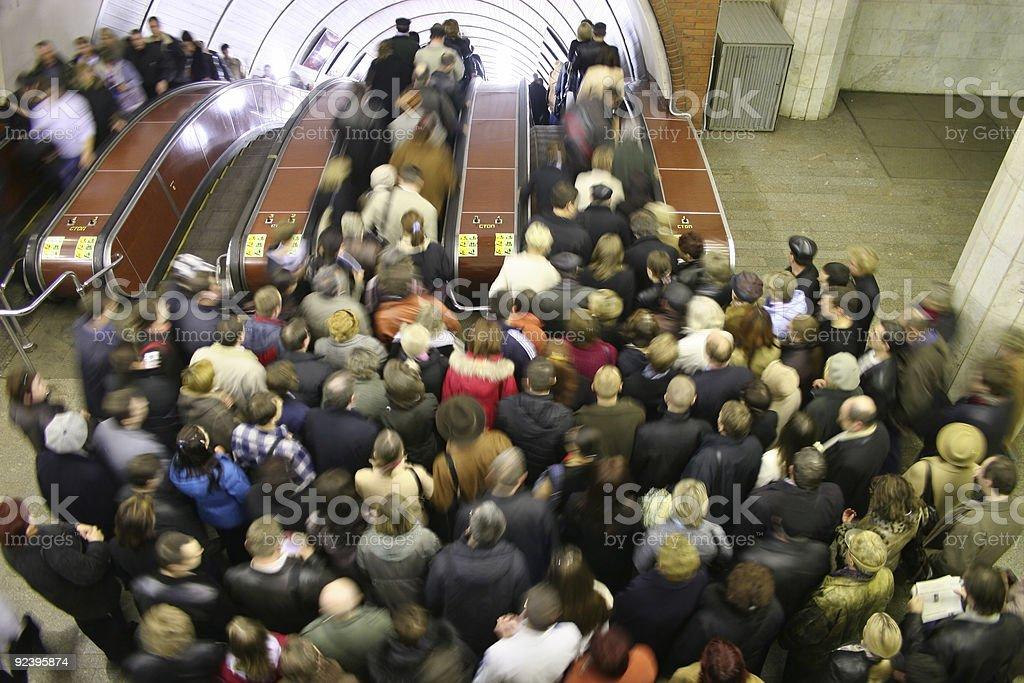 escalator crowd stock photo