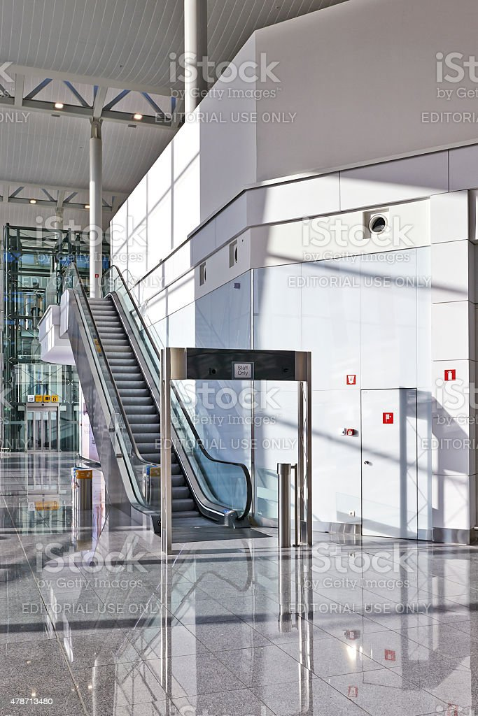 Escalator for staff only stock photo