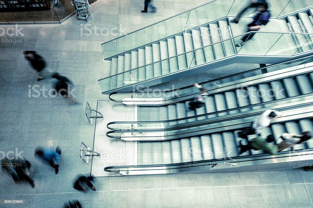 escalator in a modern train station stock photo