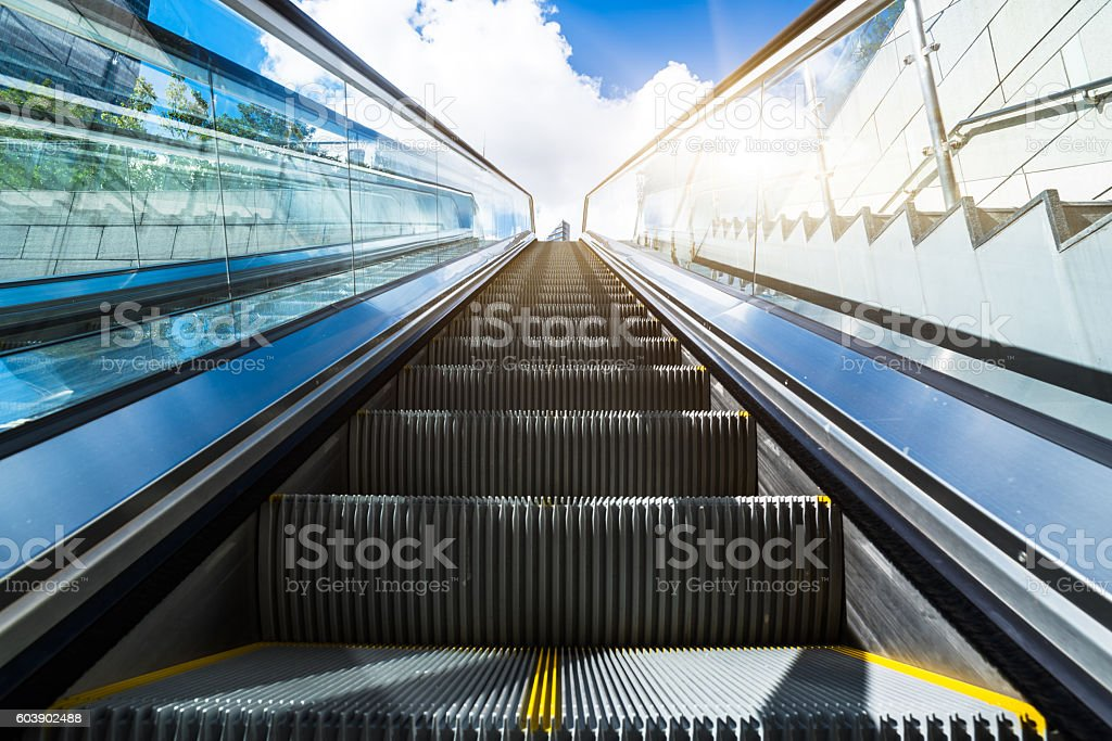 Escalator in an underground station stock photo