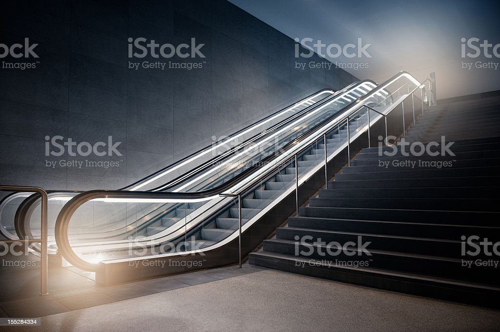 Escalator in Building stock photo