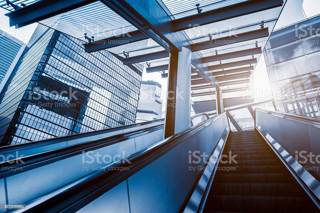 escalator in Hong Kong downtown district stock photo