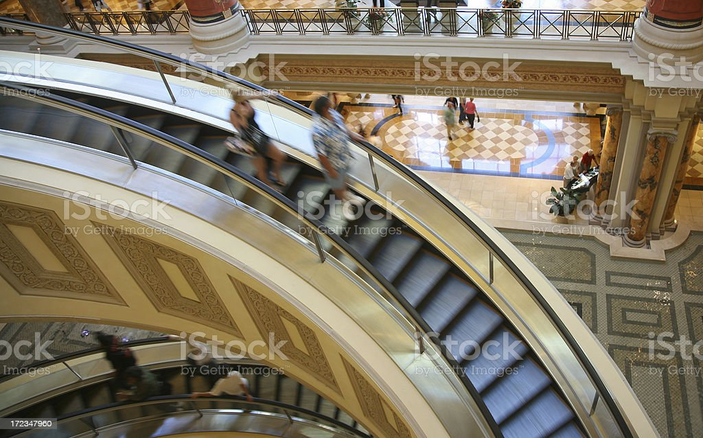 Escalator In Indoor Shopping Mall royalty-free stock photo
