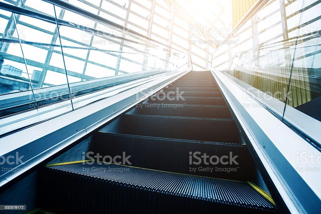Escalator in modern buildings stock photo