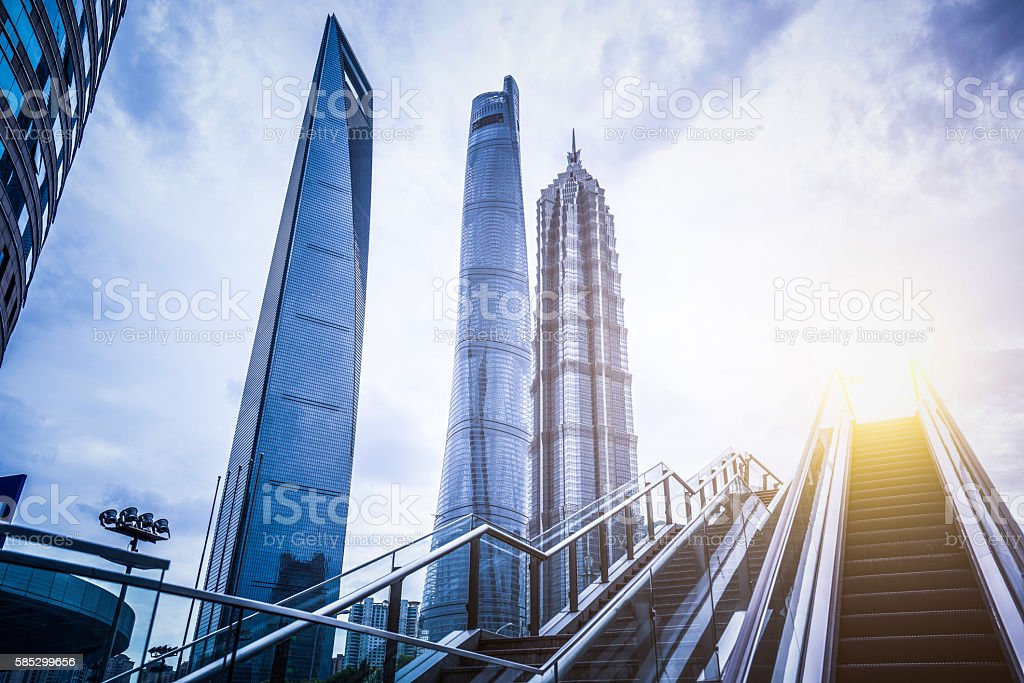 Escalator in Modern City stock photo