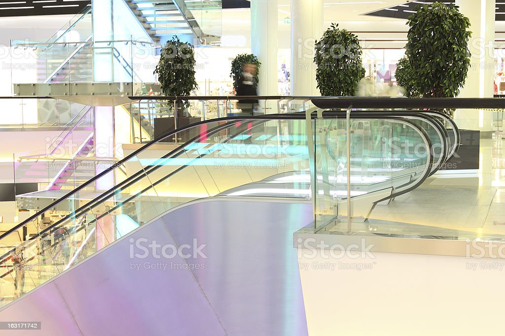 escalator in modern mall royalty-free stock photo