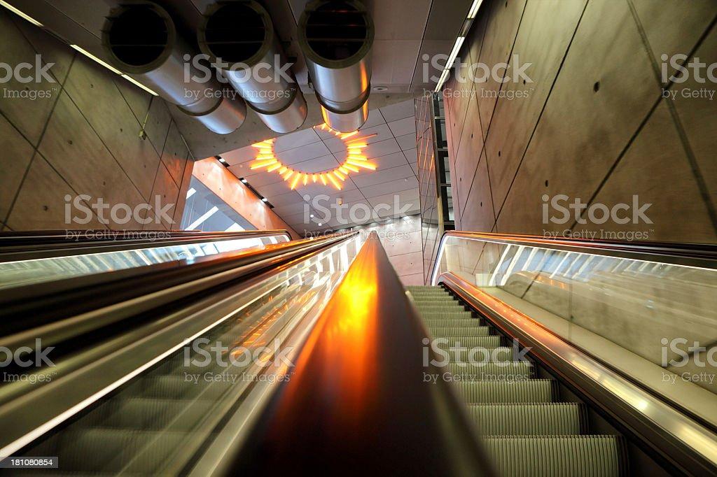 Escalator in modern setting royalty-free stock photo