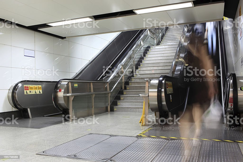 escalator in motion royalty-free stock photo
