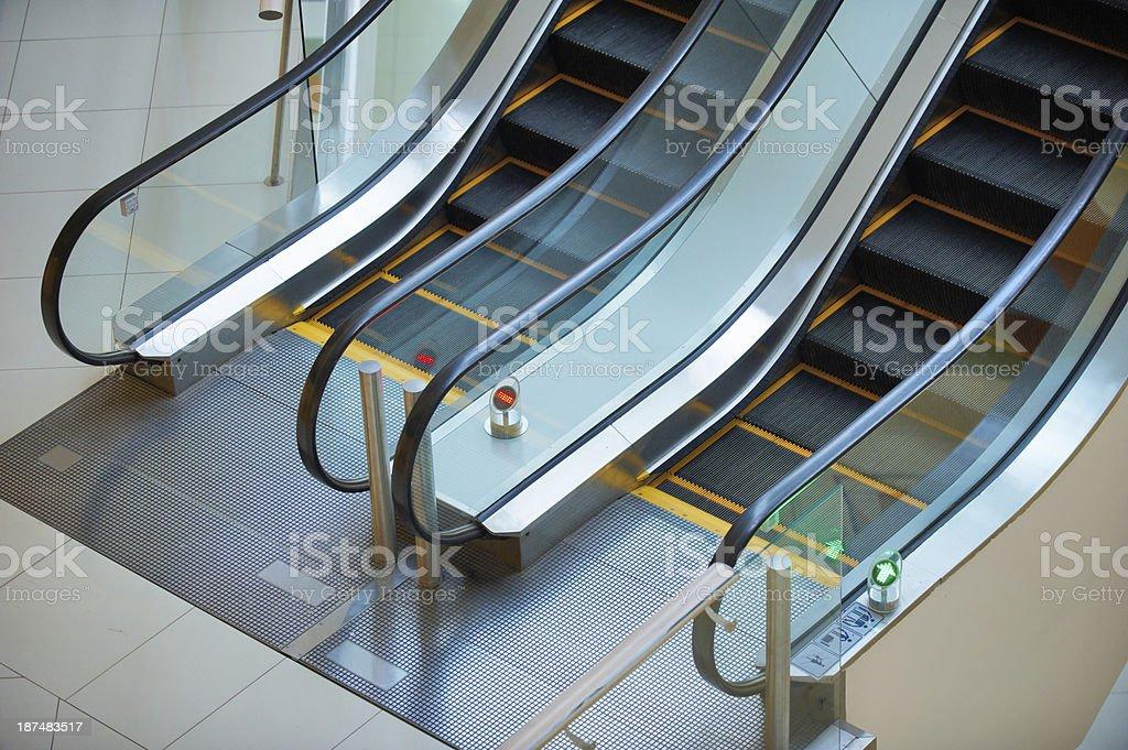 escalator in shopping mall stock photo