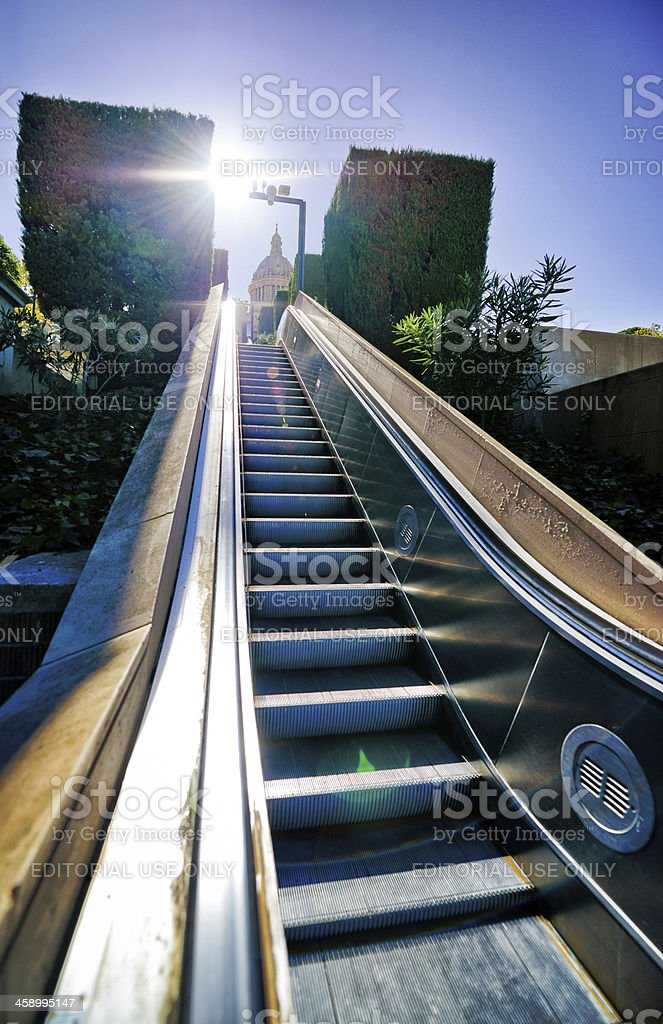 Escalator Leading to the National Art Museum of Catalonia, Barce stock photo