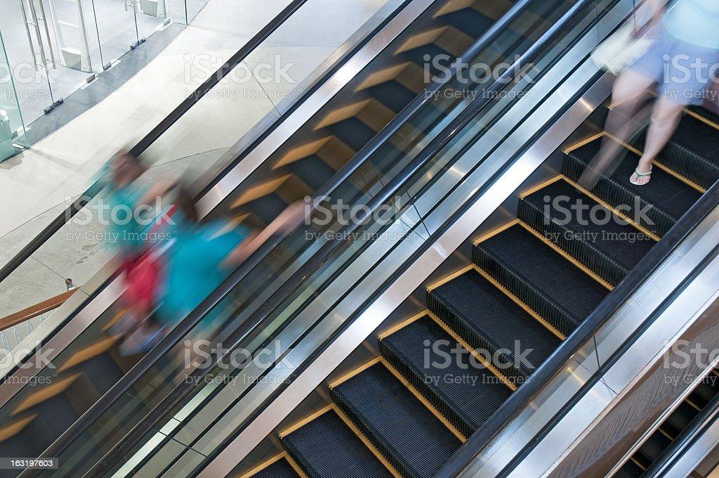 Escalator on moving step royalty-free stock photo