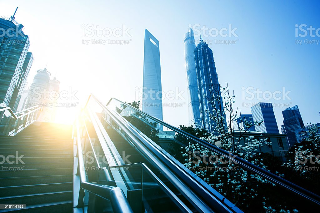 Escalator Shanghai Lujiazui streets stock photo