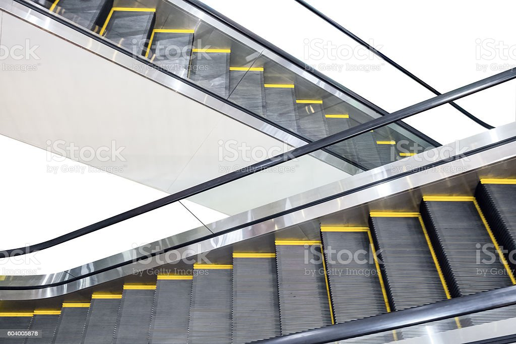 Escalator technology up and down step stock photo