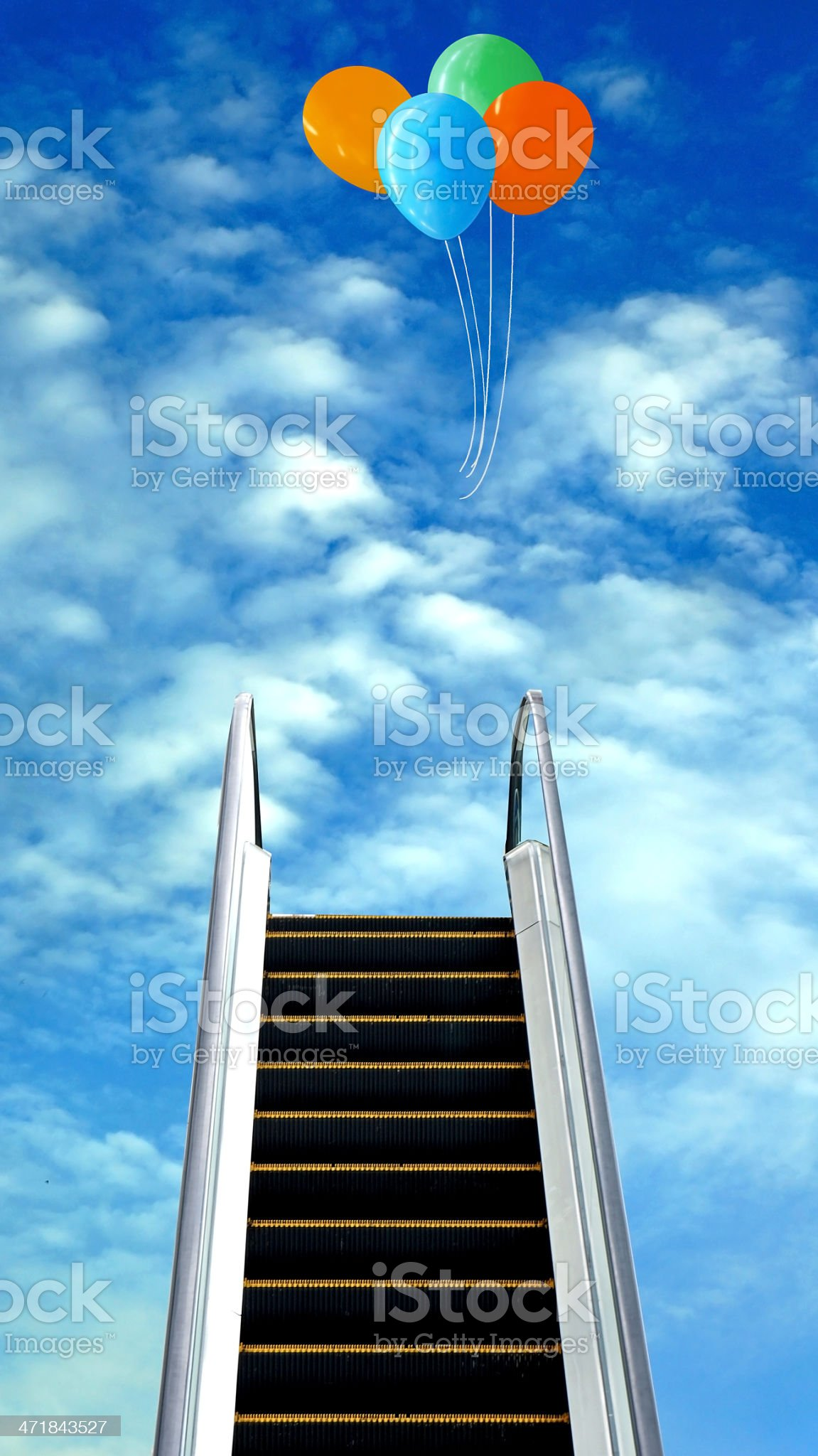 escalator to the cloud and colorful balloons royalty-free stock photo