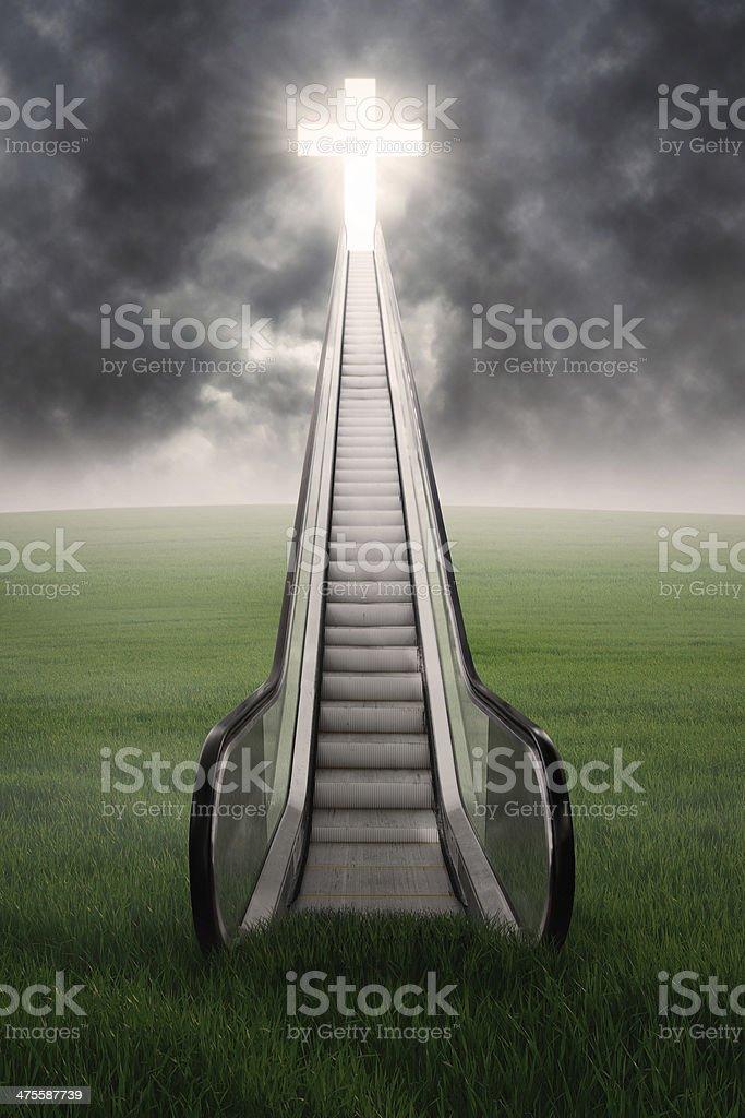 Escalator to the cross royalty-free stock photo