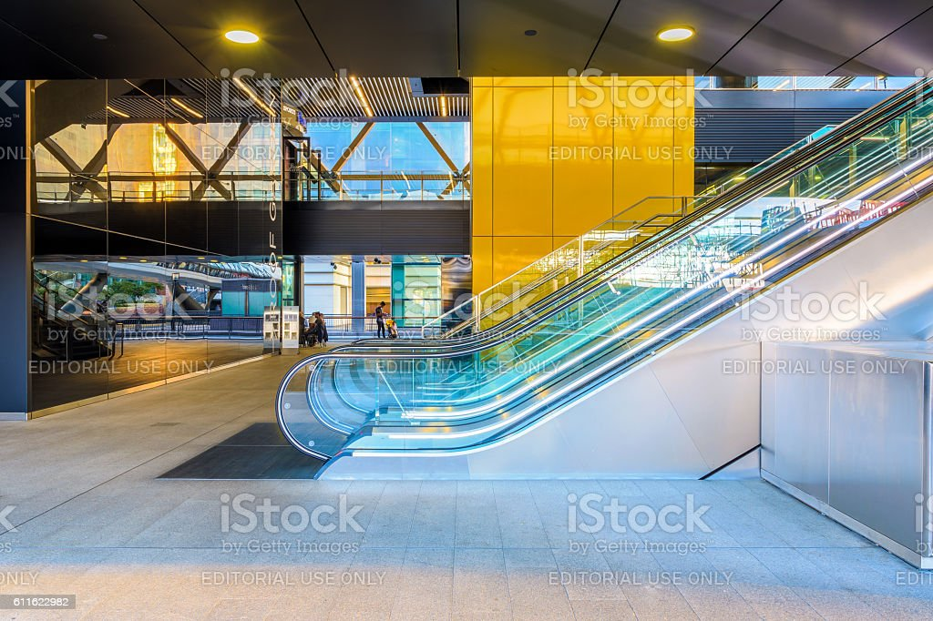 Escalator to the Crossrail station in Canary Wharf stock photo