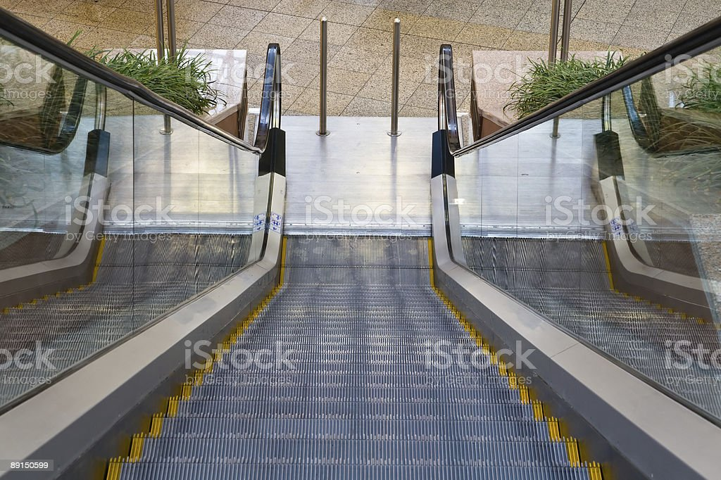 Escalator viewed downwards royalty-free stock photo
