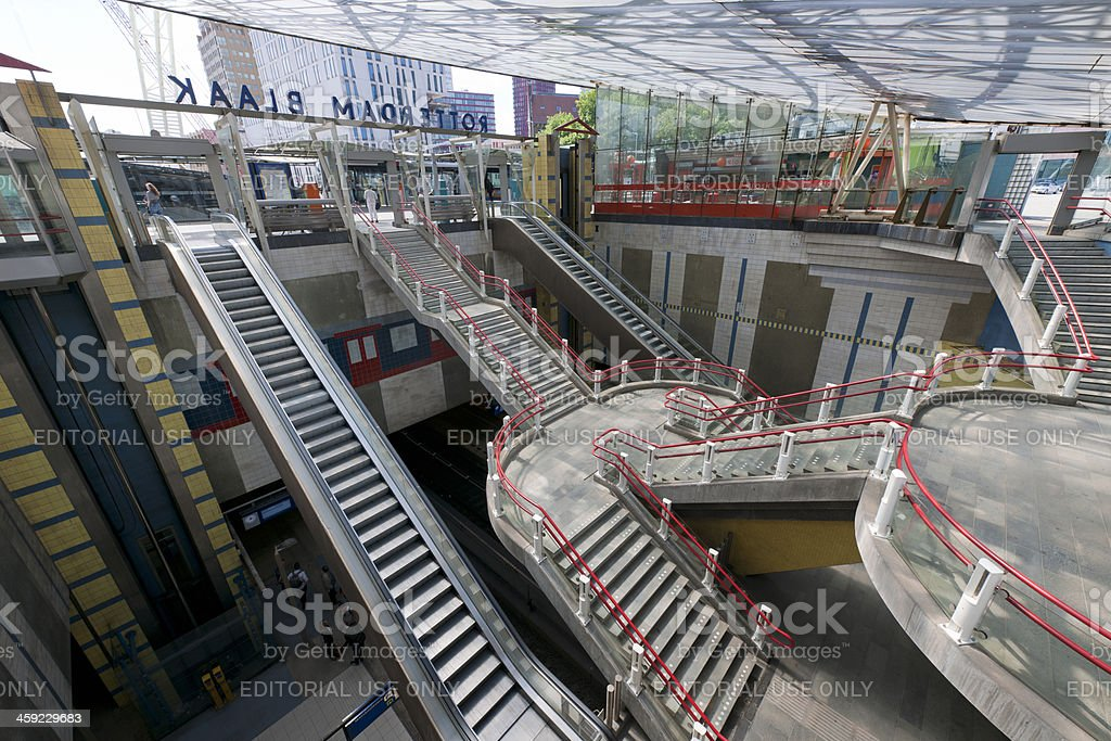 escalators and staircases in railroad station, Rotterdam The Netherlands stock photo