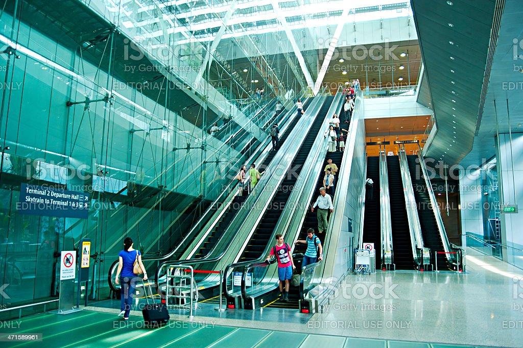 Escalators at airport stock photo