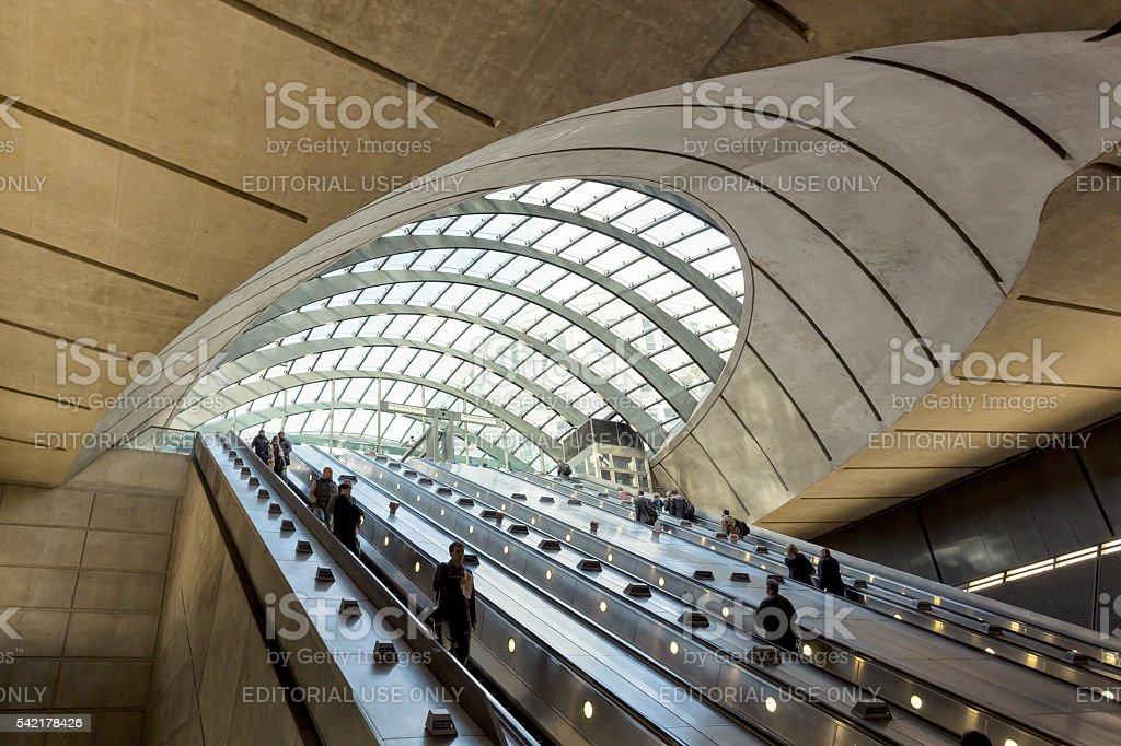 Escalators at Canary Wharf underground station in London stock photo