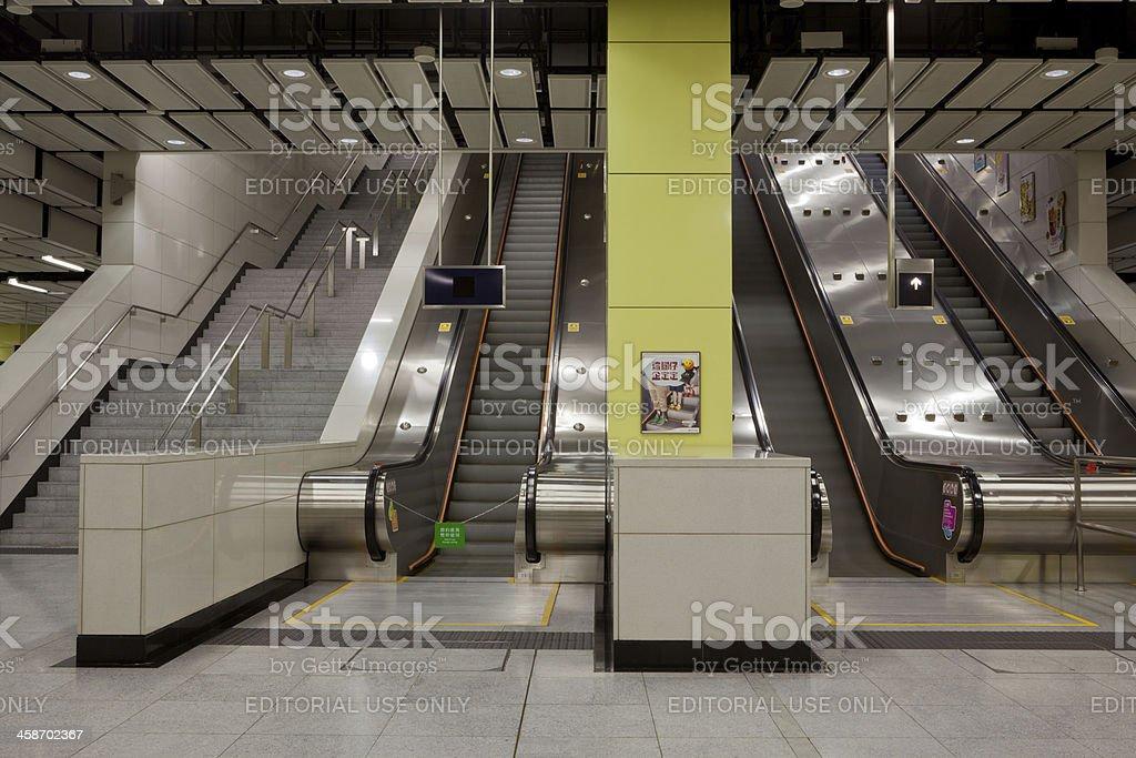 Escalators at Mass Transit Rail (MTR) Station in Hong Kong royalty-free stock photo