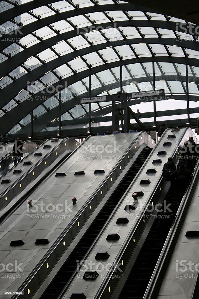 Escalators at underground station stock photo