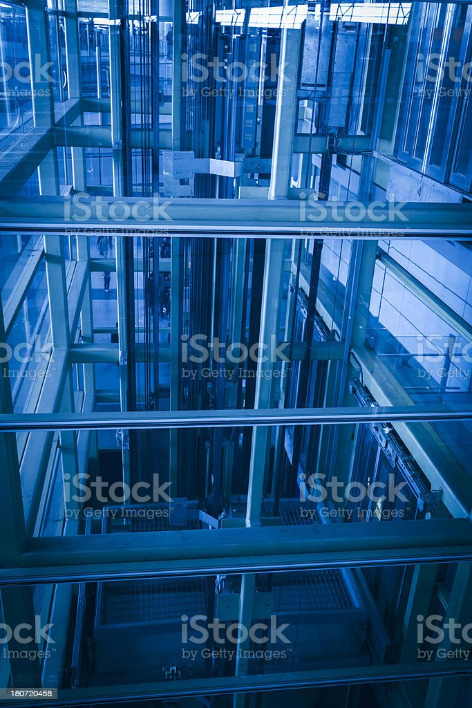 Escalators in a airport hall royalty-free stock photo