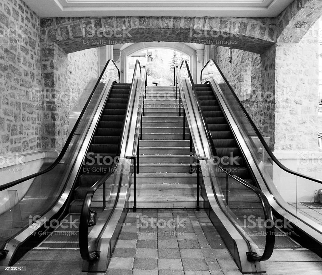 Escalators in Black and White stock photo