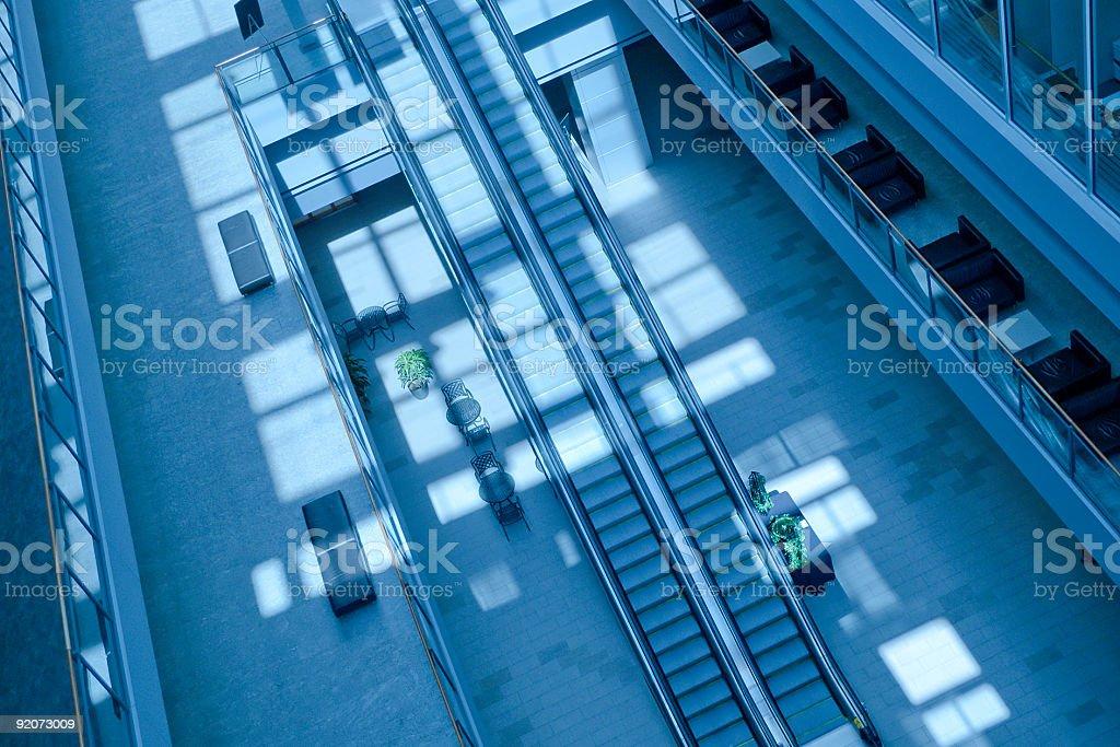 Escalators in Modern Building royalty-free stock photo