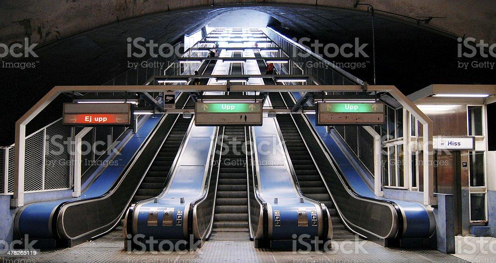 Escalators in subway royalty-free stock photo