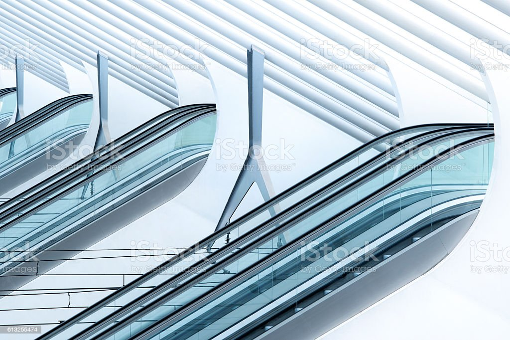 Escalators in the railway station Liege-Guillemins, Belgium. stock photo