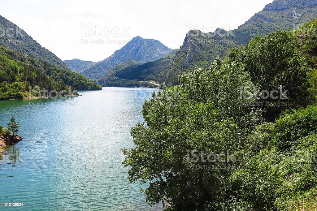 Escales lagoon, in the Catalan Pyrenees, Spain stock photo