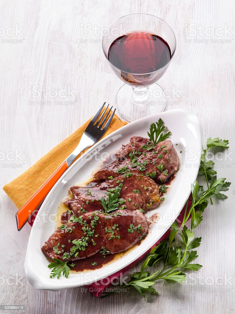 escalope cooked with red wine stock photo